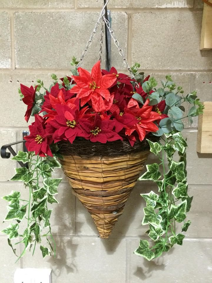 Hanging Flower Baskets For Winter : Cone wicker artificial flower hanging basket poinsettia